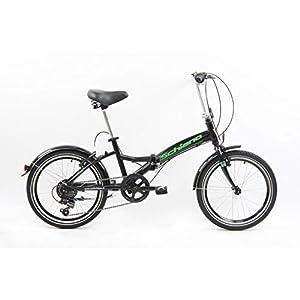 41zvYtcv2vL. SS300 F.lli Schiano Pure, Bici Pieghevole Unisex-Adult, Nero-Verde, 20''