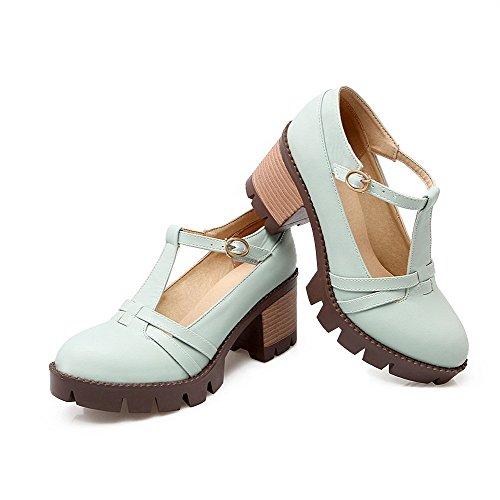 AgooLar Femme Boucle à Talon Correct Couleur Unie Pu Cuir Rond Chaussures Légeres Bleu