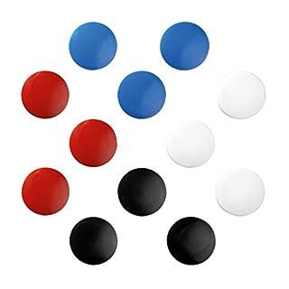Herlitz Flachmagnet rund 30 mm, 15 g Haftkraft, 10 Stück auf Blisterkarte farbrein, blau/rot/schwarz/weiß