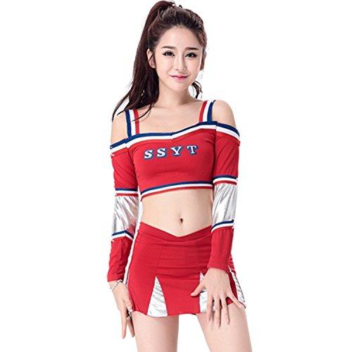 Babyicon Damen Cheerleader Kostüme Outfit Fußball Sport Verrücktes Kleid Uniform (S, Rot)