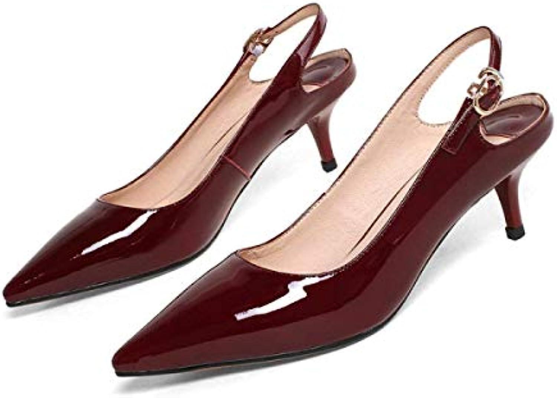 Eeayyygch Sandali Bassi da Donna, Fibbie a Punta e Scarpe a Tacco Basso (Coloreee   Vino Rosso, Dimensione   34)   di moda    Gentiluomo/Signora Scarpa