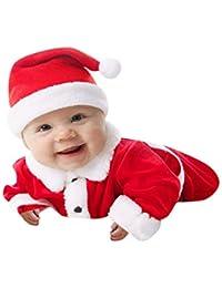 Beikoard Weihnachten Infant Baby Jungen Mädchen Weihnachten Xmas Fleece Tops Pullover Hosen Hut Kleidung Set 3 Stücke Tops Hosen Taufbekleidung Bekleidungssets