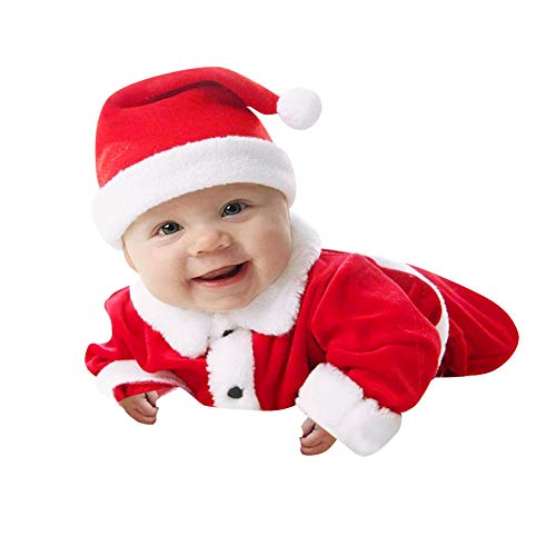 (MIRRAY Weihnachten Infant Baby Jungen Mädchen Weihnachten Xmas Fleece Tops Pullover Hosen Hut Kleidung Set 3 Stücke Tops Hosen)