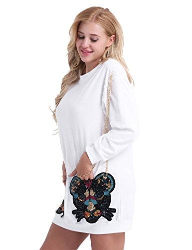 TioaBug Femme Sweat-shirt Longue Pull à Manches Longues Blouse à Tête de Tigre Paillettes Lâche T-shirts Top avec Chaîne en Métal Vêtement de Hiver S-2XL Blanc