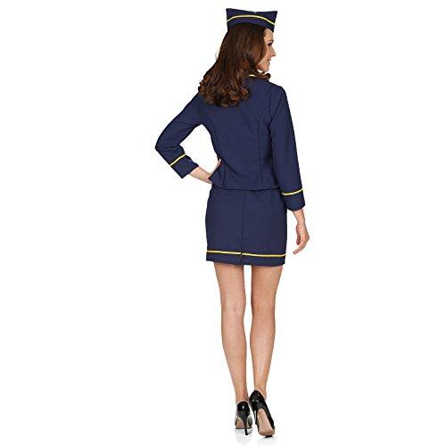 Stewardess Kostüm für Damen 4-tlg. Gr. 44 46 - Tolles Flugbegleiterin Damenkostüm für Karneval oder Mottoparty