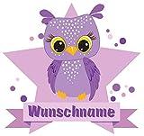 Samunshi® Lila Eule Wandtattoo Türschild mit Name personalisierbar Kinderzimmer Türaufkleber Baby Wandaufkleber in 9 Größen (40x35cm Mehrfarbig)