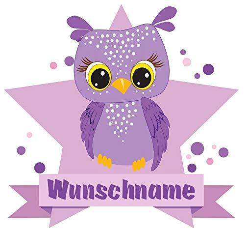 Samunshi® Lila Eule Wandtattoo Türschild mit Name personalisierbar Kinderzimmer Türaufkleber Baby Wandaufkleber in 9 Größen (25x22cm Mehrfarbig)