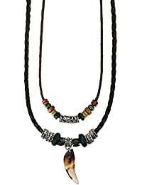 Flongo Collar de Cuero Hombre Collar Trenzado, Colgante de ala de Angel, Collar Ajustable para Hombre Mujer Estilo Etnico Tribal Collar Largo Doble