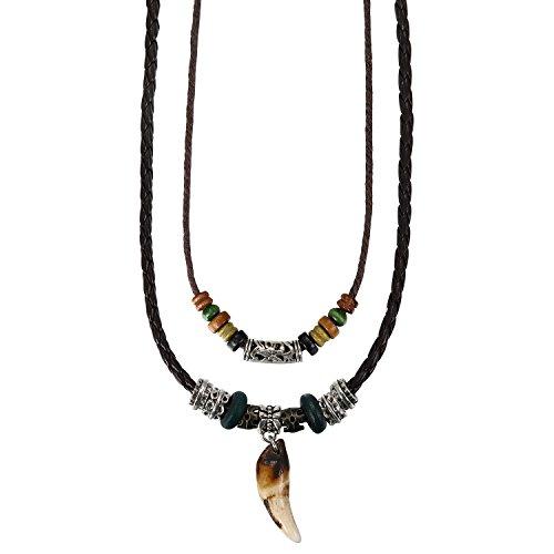 Aroncent Herren Lederkette Leder Halskette mit Legierung Anhänger Wolf Gebiss Zahn Verstellbare Kette