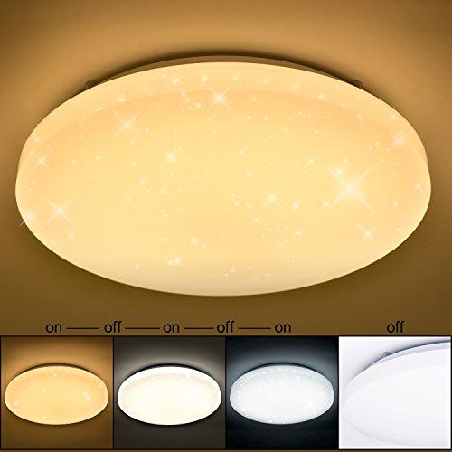 VINGO® 50W LED Wand-Deckenleuchte Farbwechsel rund Deckenlampe Starlight Effekt Modern Schlafzimmer Kinderzimmer Dekor