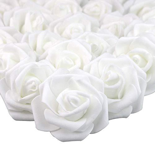 MEJOSER 50er Schaumrosen Foamrosen Schaum Blumeköpfe Rosenköpfe Künstliche Blumen Rosen Schaum Kunstrosen Weiß Brautstrauß DIY Party Hause Hochzeit Kommunion Tischdeko
