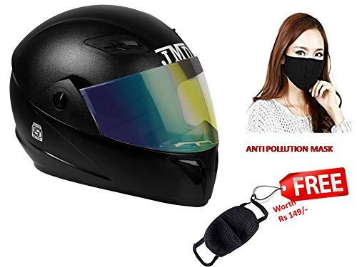 JMD Helmets Trusty Full Face Helmet with Mirror Visor (Black, L)