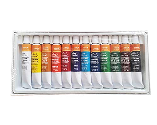 Mbgi-wap Tempera Basics, Guache Colour Set, 12 tubetti da 12 ml, Colori Brillanti
