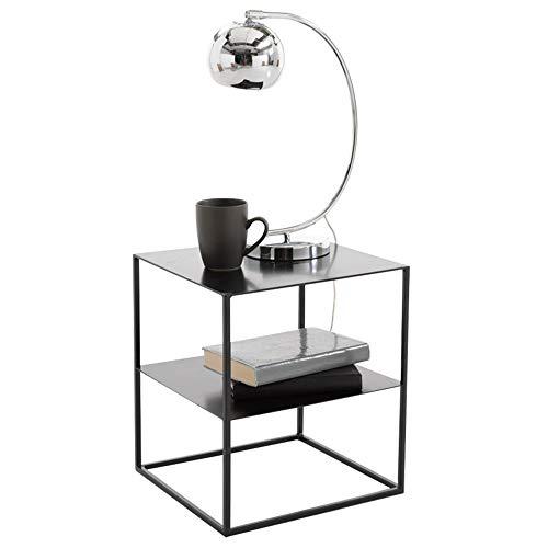 Scrivanie dd tavolino, tavolino o tavolino per soggiorni black glass 2 tier modern stand -banco di lavoro (colore : ferro)