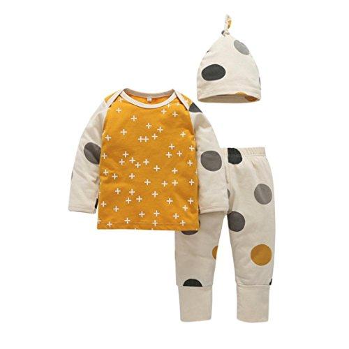 Kleinkind Säugling Baby Mädchen Junge Drucken T-Shirt Tops + Hosen + Hut Outfits Punkt Muster Kleider Set Hirolan Weich Hand Gefühl und hoch Qualität Materialien (60cm, Gelb) (5 Licht-t-shirt)