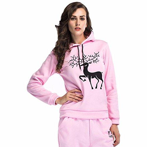 Bekleidung Loveso Kapuzenpullover Herbst Winter Elch Moose Muster Damen Langarm Kapuzen Sweatshirt Pullover Casual Sport Streetwear Top Christmas Costume Weihnachten Kostüm ((Größe):42 (2XL), (Jean Kostüm Grey Grünen)