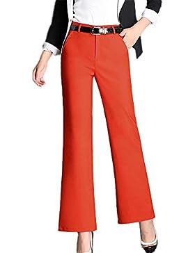 Mujeres Elástica Vintage Casual Pantalones Acampanados Push Up Slim Trousers Pantalón