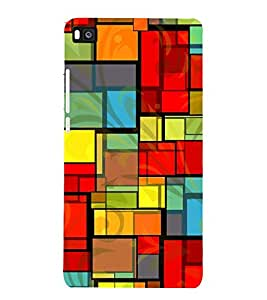 Colourful Rectangular Pattern 3D Hard Polycarbonate Designer Back Case Cover for Huawei P8