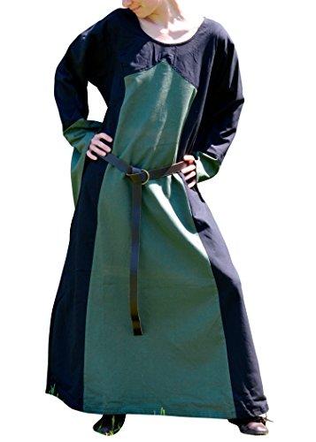 Battle-Merchant Mittelalterliches Kleid Aurora, schwarz/grün - Mittelalterkleid - Larpkleid - Wikingerkleid Größe S