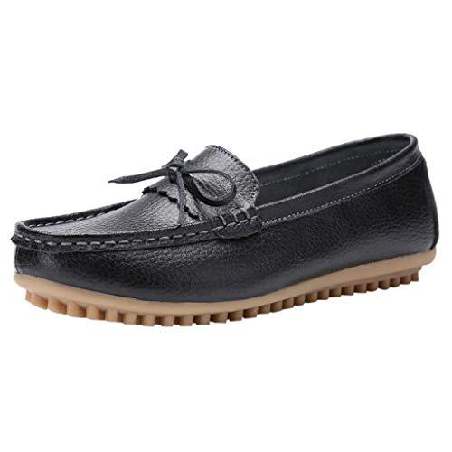 CixNy Damen Bogen Leder Pumps Loafer Breathable beiläufige Loch-Schuhe der Frauen große Erbsen Schuhe Sommer Low Top Ankle Elegante Vintage Flats ()