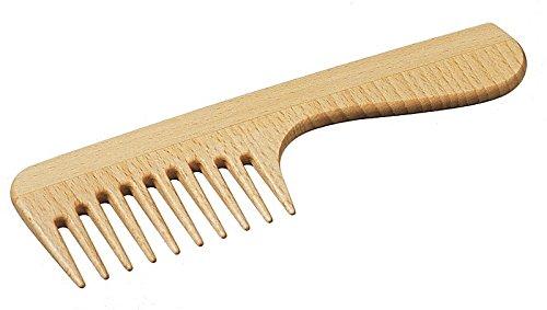 Peigne avec poignée - peigne de haute qualité avec dents grossières, peigne à friser, peigne à brins, peigne Afro peigne, peigne en bois de hêtre, idéal pour les voyages, long 180 mm, made in Germany