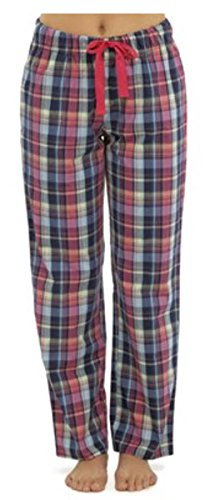 Damen/Damen Plaid kariert Baumwolle Pyjama Hose/Lounge Hose Gr. 40, Rot - Rot (Plaid Lounge Rot)