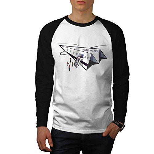 wellcoda Budget Fluggesellschaft Männer Baseball LS T-Shirt Papier Ebene Raglan - Fluggesellschaften, Weißes T-shirt