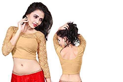Fertige, Free Size Saree Blouse, Blusen, Bollywood, Sari, Goa, Indien, Hochzeit, Kleid, Oberteil, Party,105 (Light golden) Rock Sari Saree