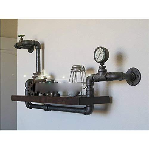 Mur décorations LOFT fer étagère murale étagère en pot présentoir salle de bains solides étagères en bois support de cuisine fer tuyau planche