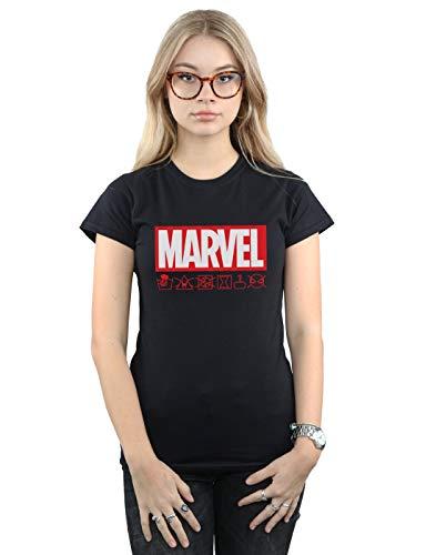 Marvel Damen Logo Wash Care T-Shirt Schwarz XX-Large -