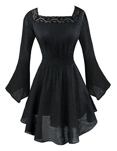 Pleated Baby Doll (Charmian Women's Victorian Gothic Tencel Cotton Lace Corset Top Tunic Dress Black Large)