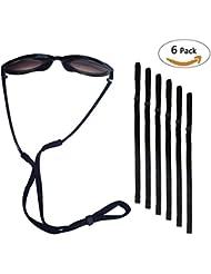 Sport Sunglass Halter-Bügel, Universal Fit Seil Brillen Retainer, Brillen Retention System, Set von 6 (schwarz 6 Stück)