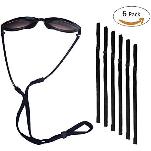 Deportes Sunglass titular correa, Universal fit cuerda Eyewear Retenedor, sistema de retención Gafas, juego de 6, Black 6 Pcs