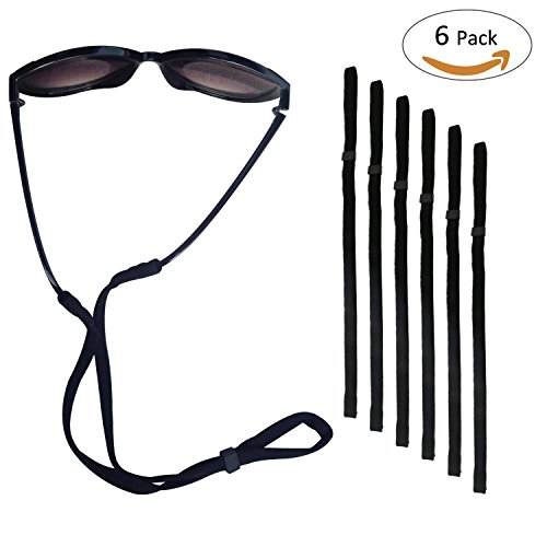 Sport Sunglass Halter-Bügel, Universal Fit Seil Brillen Retainer, Brillen Retention System, Set von 6 (schwarz 6 Stück) (Black - 6Pack)