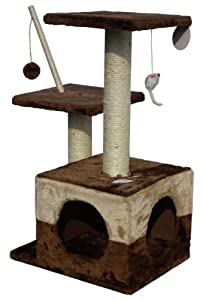 Cat Scratcher Bed Tree Scratching Post Activity Centre W/ Toys Soft Fleece NEW