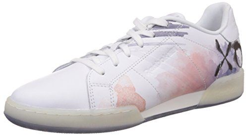 Reebok Classics Women's Npc Ii Ne Celebrate Light Pink, White, Dark Blue and Silver Leather Tennis Shoes – 7 UK 41zvge Z 2BZL