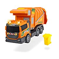 Dickie Toys Garbage Truck Collector Lorry Toy with Realistic Light and Sound Effects, Orange