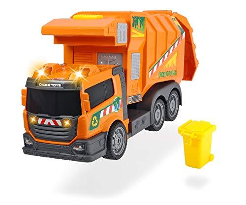 Dickie Toys 203308383 Garbage Collector 203308383 - Camión de la Basura con luz y Sonido (39 cm, Funciona con Pilas), Color Naranja
