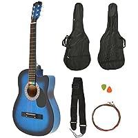 ts-ideen Western - Guitarra acústica, tamaño regular (4/4) con set de accesorios (bolso, cuerdas etc.), color azúl y negro sunburst
