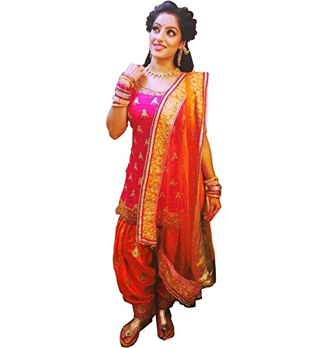 Sai creation Women\'s Cotton Embroidered Semi Stitched Patiala Salwar Suit Dress Material Free Size (pink)