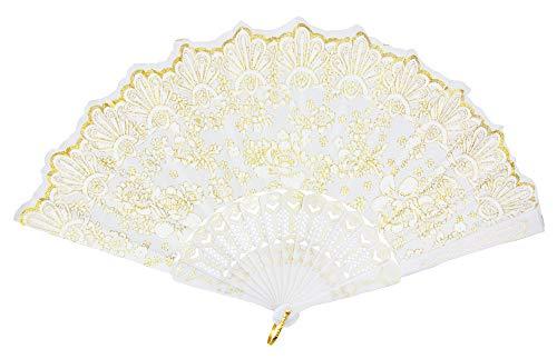 Das Kostümland Glitzer Handfächer mit Rosen - Weiß/Gold