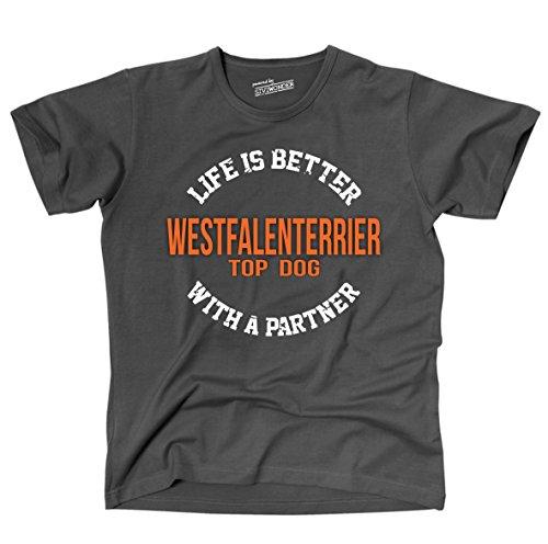 Siviwonder Unisex T-Shirt WESTFALENTERRIER - LIFE IS BETTER PARTNER Hunde Dark Grey