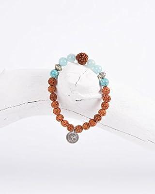 """Mala Armband """"Ocean"""" • Mala Armband aus echten Amazonit Edelsteinen sowie Rudraksha Samen • Schmuck handgemacht in Deutschland • Für Meditation, Yoga und ein cooles Outfit"""