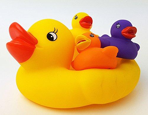 Badespielzeug Entenfamilie 4 tlg Badeente + 3 Baby Enten