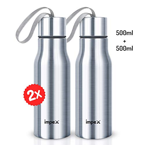 Impex SIPPY-500 ml Stainless Steel Water Bottle Combo (Set of 2,Silver)