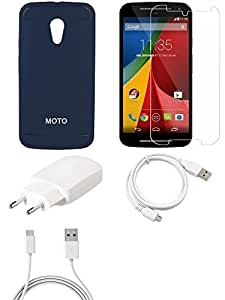 NIROSHA Tempered Glass Screen Guard Cover Case Charger USB Cable for Motorola G2 - Combo