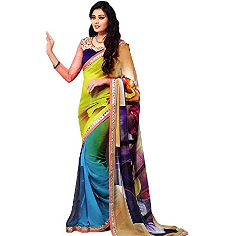 Exotic India Multicolor Art-Deco Impreso sari bordado con pa, multicolor