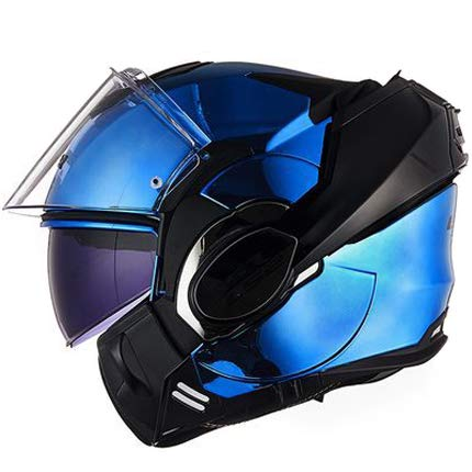 Erwachsenen Unisex Motorradhelm Full Cover Flip Jethelm Motorrad Racing Ride Helm-Electroplatedblue-XXL -