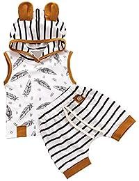 BBSMILN Ropa Bebe Niña Niño Otoño Invierno 0 a 3 6 12 18 24 Meses de Recién Nacido - Pluma Sudadera con Capucha de Manga Larga + Pantalones a Rayas - 2PC / Conjuntos
