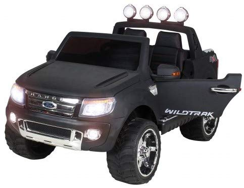 Actionbikes Motors Kinderauto Elektroauto Ford Ranger - Lizenziert - 2 x 45 Watt Motor - Eva Vollgummireifen - 2,4 Ghz Fernbedienung (Schwarz Matt Lackiert)